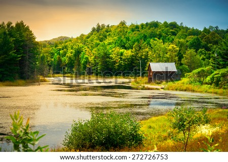 A small, wooden cabin near the edge of a small small river or pond amidst lush foliage nearing sunset.