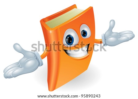 A smiling book cartoon illustration. Education, reading or teaching mascot