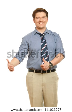 A smiling man showing thumb up sign, isolated on white background