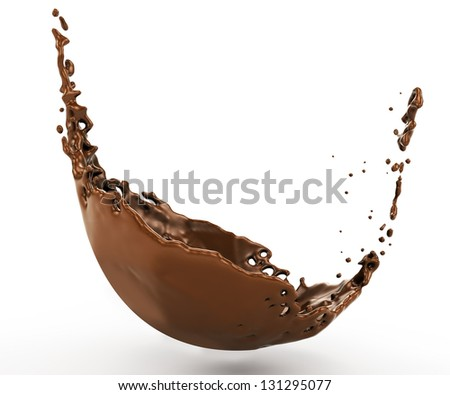 a splash of hot chocolate with a a splash spray. Isolated on white background
