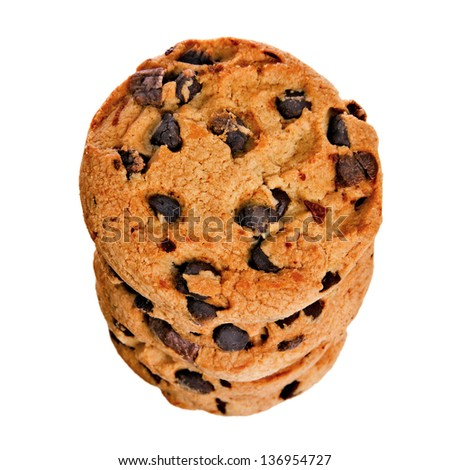 A Stack of Delicious Chocolate Chip Cookies Isolated on a White Background