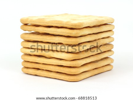 A stack of lightly salted hard snack crackers.