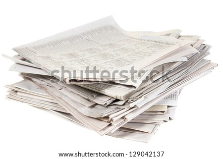 A stack of newspapers isolated on white background
