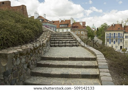 A stairway going to the old town (Stare Miasto) of Warsaw, Poland