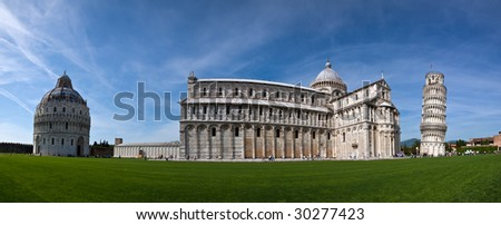 A stitched panorama of the Piazza dei Miracoli, Pisa, showing the Baptistery, Cathedral and Leaning Tower