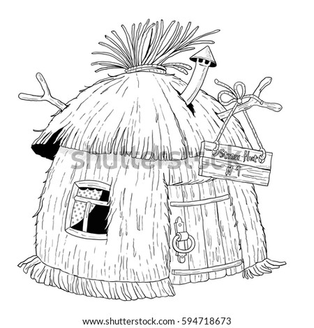 straw house coloring pages - photo#5