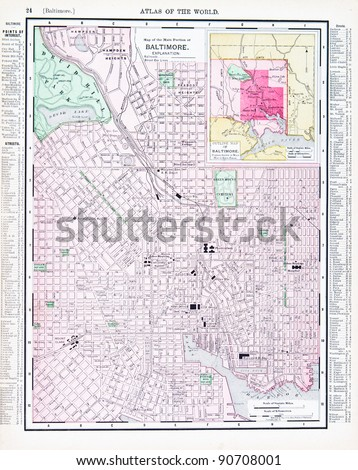 Map Puerto Rico Spoffords Atlas World Stock Photo - Baltimore usa map