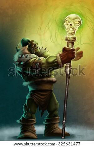 a strong shaman orc with his magical staff
