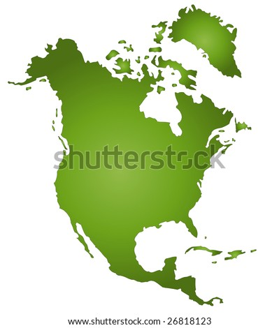 A stylized map of North America in green tone. All isolated on white background.