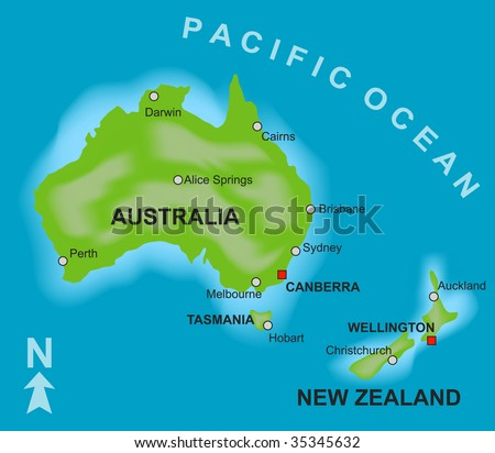 Stylized map showing countries australia new stock illustration a stylized map showing the countries of australia and new zealand gumiabroncs Image collections