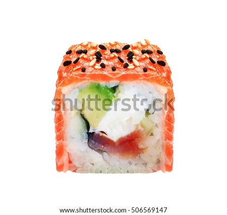 a sushi roll isolated on white