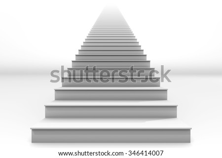 A tall white straight staircase stretches to infinity on a white background.  It is a 3D rendered image.