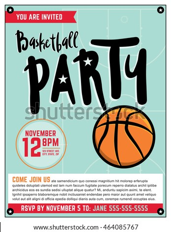 a template illustration invitation for a basketball theme - Basketball Party Invitations