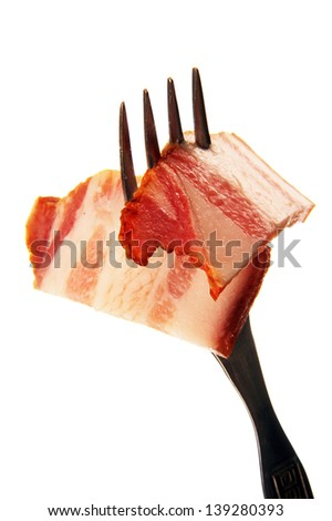 a thin slice of ham slice on a metal fork, photo on the white background.