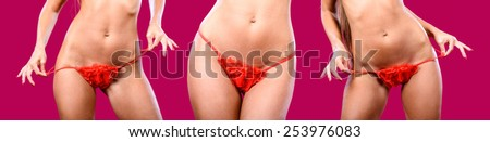 A three fragments of woman body in red panties / Lingerie / Underwear/Woman body shape/Female body/Woman body