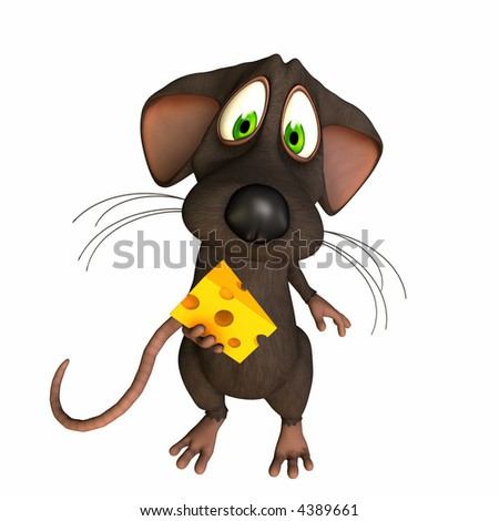 A toon mouse caught with a piece of cheese. Isolated on a white background.
