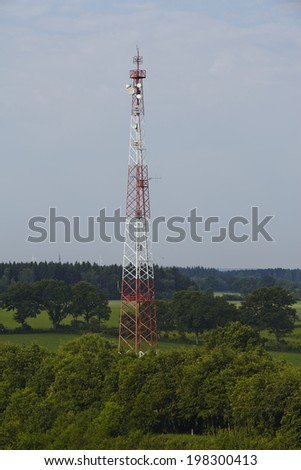 A transmitting masr near the Kiel Canal at Beldorf in the rural district Rendsburg-Eckernfoerde (Germany).