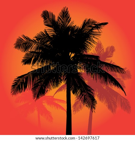 A trio of tropical coconut palm tree silhouettes illustration.