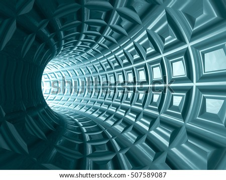 A tungsten blue tiled tunnel, 3D illustration.