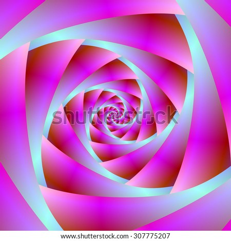 A Twist of Blue and Pink / A digital abstract fractal image with a spiral design in blue and pink.