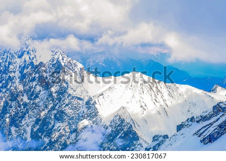 A view across the top of the Alps from Germanys highest mountain, the Zugspitze