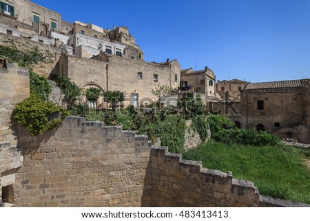 A view at houses in the Sassi the historic center of the city Matera in Basilicata in Italy