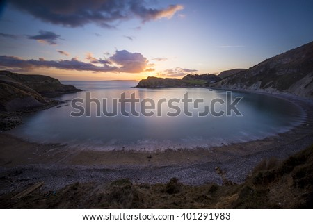 A view of Lulworth Cove in Dorset.