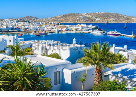 A view of Mykonos port and town, island of Mykonos, Cyclades, Greece