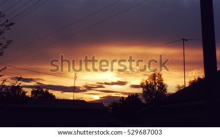 A view of sunset in a village