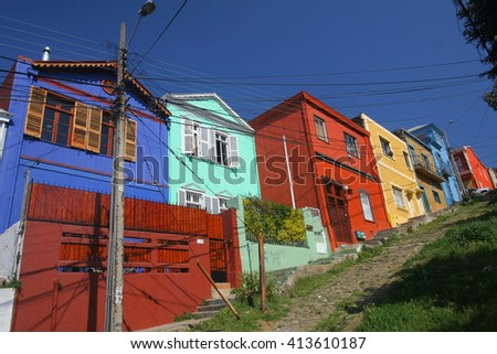 A view of the colorful architecture in Valparaiso in Chile
