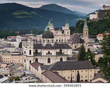 A view of the houses standing round the floating river Salzach in Salzburg
