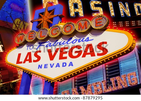 A view of the Las Vegas sign and strip background