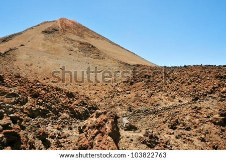 A view of volcano Mount Teide, in Teide National Park, in Tenerife, the highest elevation in Spain