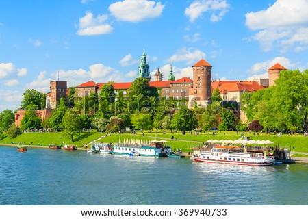 A view of Wawel castle located on bank of Vistula river in Krakow city, Poland
