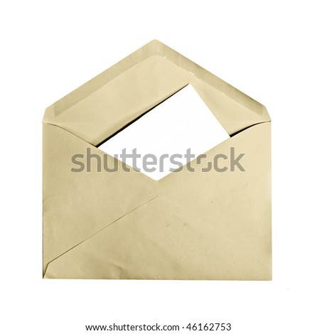 A vintage envelope with letter inside, copyspace, isolated on white