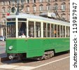A vintage historical tramway in Turin, Italy - stock photo
