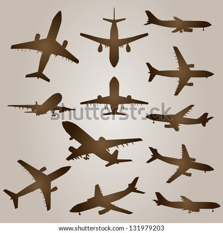 High Resolution Collection Black Planes Drawings Stock ...