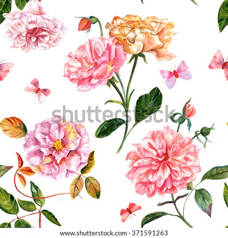 A vintage style seamless background pattern of tender pink watercolor roses and peonies, with butterflies