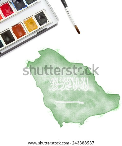 A watercolor painting of Saudi Arabia in the national colors.(series)
