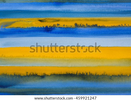 A watercolor painting with horizontal bands of color, blue and yellow