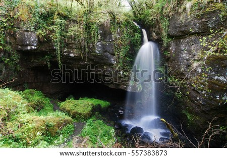 "A waterfall at the opening to Pollnagollum cave in Ireland which was used as a filming location in ""Game of Thrones"""