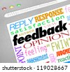 A website screen showing an online survey for collecting feedback, opinions, answers and viewpoints from customers or audience members - stock vector