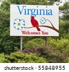 A welcome sign at the Virginia state line. - stock photo