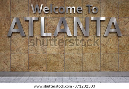 A Welcome to Atlanta sign in the Atlanta airport.