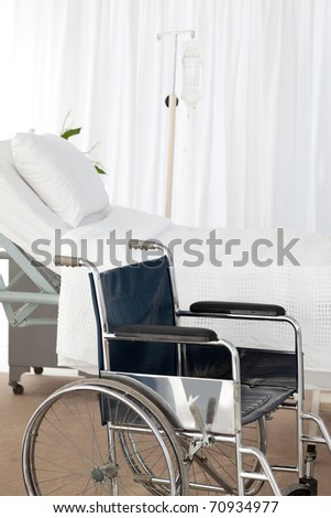 A wheelchair in a room