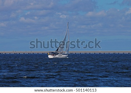 A White Sailboat Sailing on Tampa Bay, Florida on a Blue Sky Background