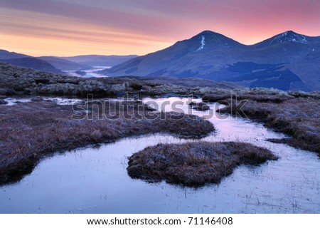 A winters dawn in the north of Loch Lomond and the Trossachs National park, looking towards Chabhair.