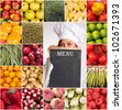 A woman with a chefs attire holding a menu surrounded by images of fruits and vegetables - stock photo