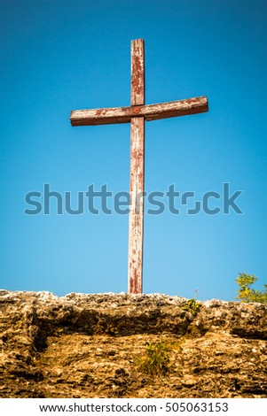 A wooden cross in a remote monastery in eastern europe