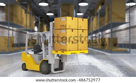A worker in a huge distribution warehouse with high shelves for use in presentations, education manuals, design, etc. 3D illustration